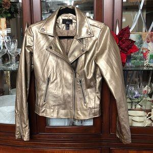 EUC Vegan Leather Gold Metallic Motto Jacket